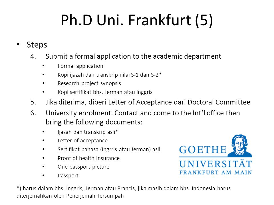 Ph.D Uni. Frankfurt (5) Steps