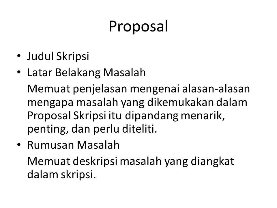 Proposal Judul Skripsi Latar Belakang Masalah