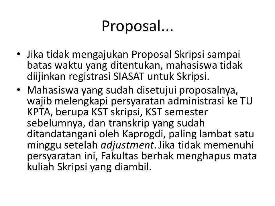 Proposal... Jika tidak mengajukan Proposal Skripsi sampai batas waktu yang ditentukan, mahasiswa tidak diijinkan registrasi SIASAT untuk Skripsi.