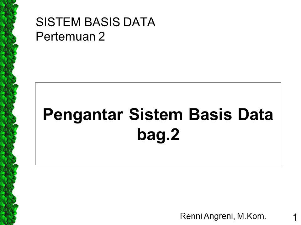 SISTEM BASIS DATA Pertemuan 2