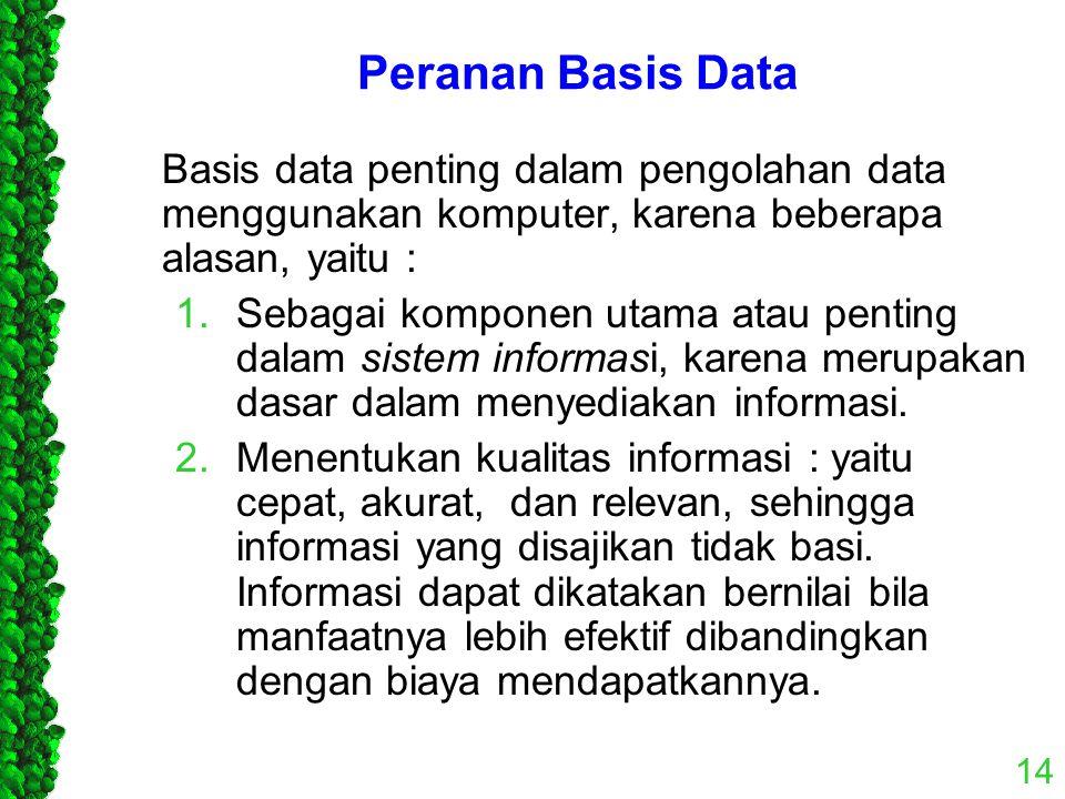 Peranan Basis Data Basis data penting dalam pengolahan data menggunakan komputer, karena beberapa alasan, yaitu :