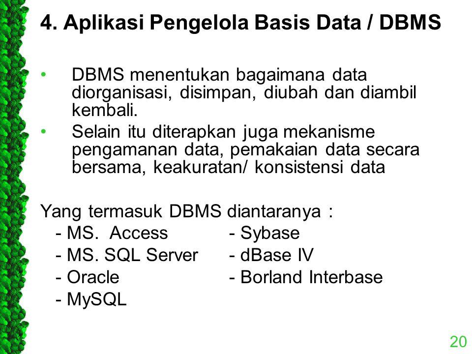 4. Aplikasi Pengelola Basis Data / DBMS