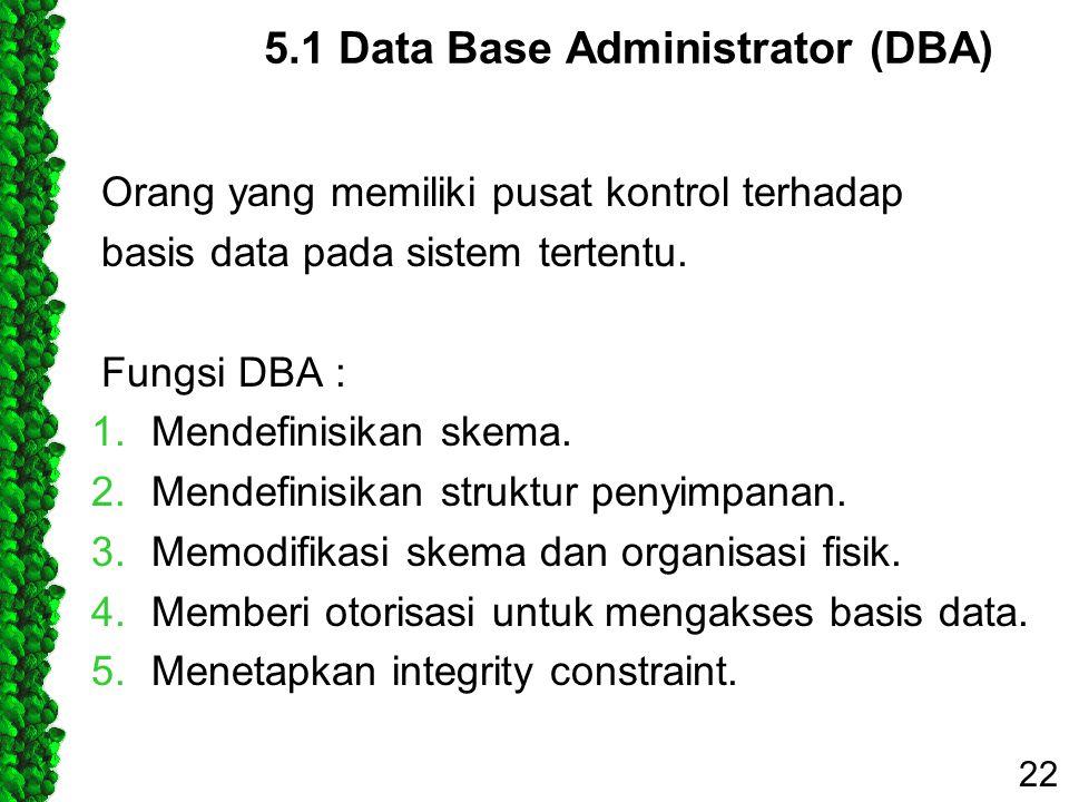 5.1 Data Base Administrator (DBA)