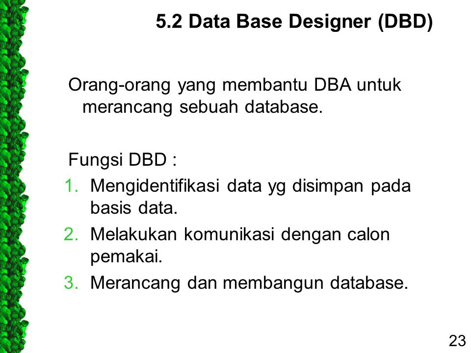 5.2 Data Base Designer (DBD)
