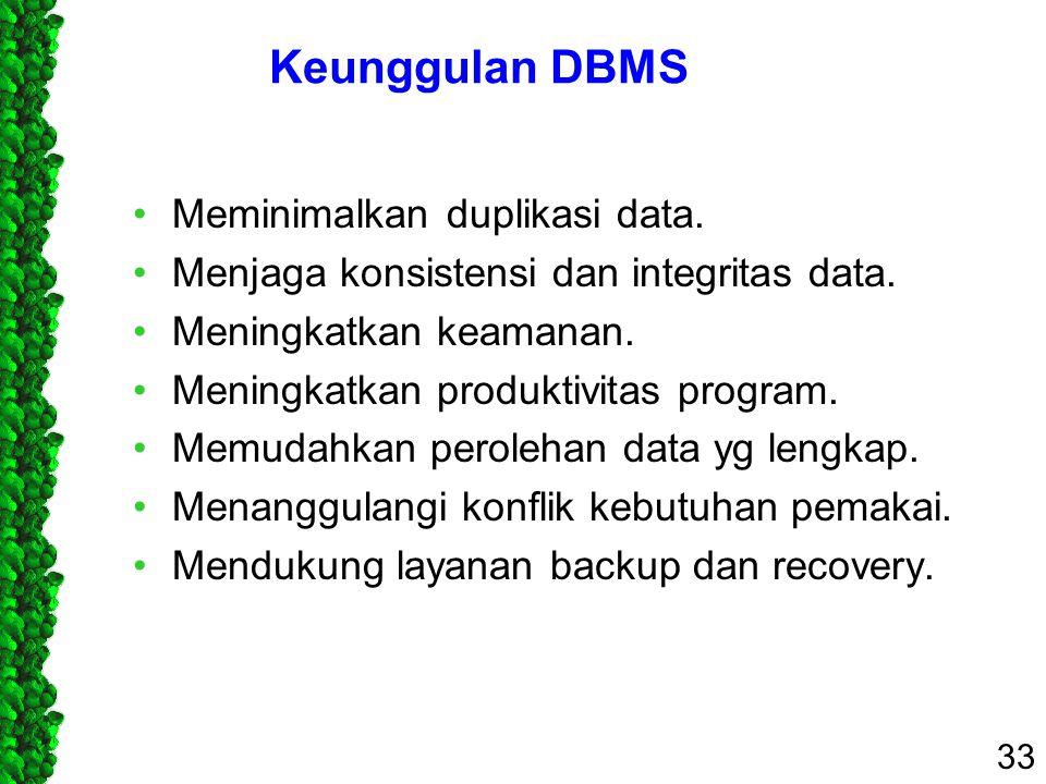 Keunggulan DBMS Meminimalkan duplikasi data.