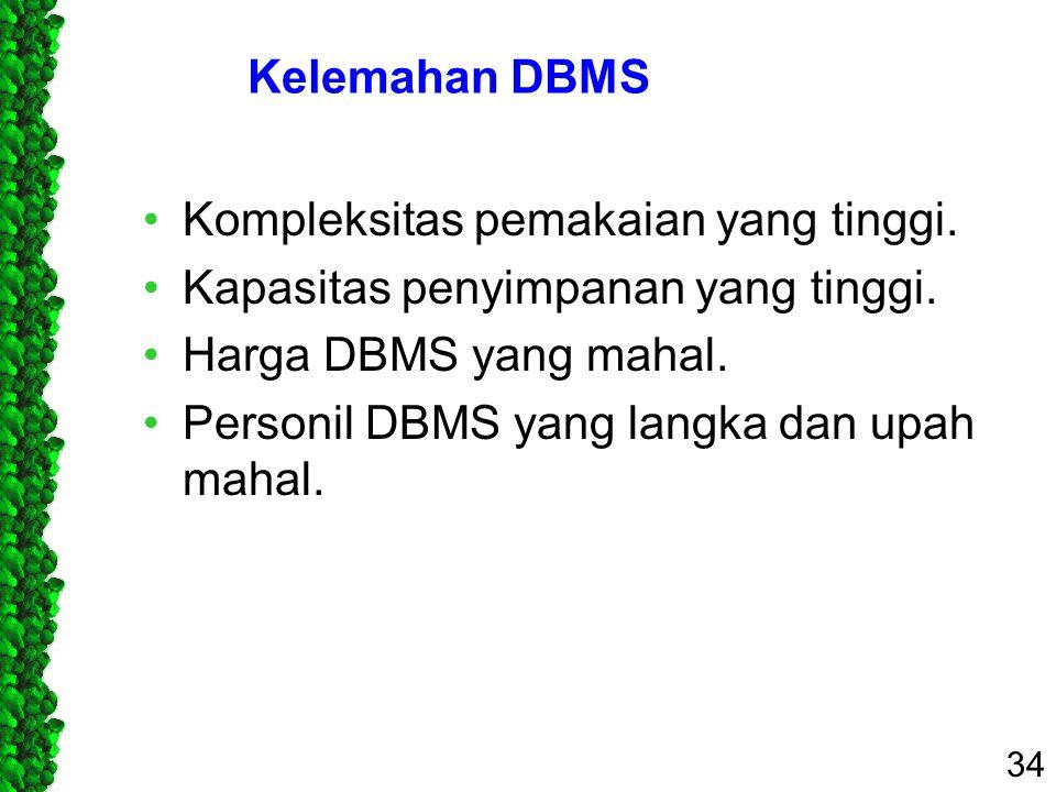 Kelemahan DBMS Kompleksitas pemakaian yang tinggi. Kapasitas penyimpanan yang tinggi. Harga DBMS yang mahal.