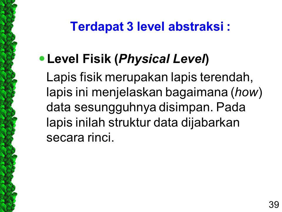 Terdapat 3 level abstraksi :