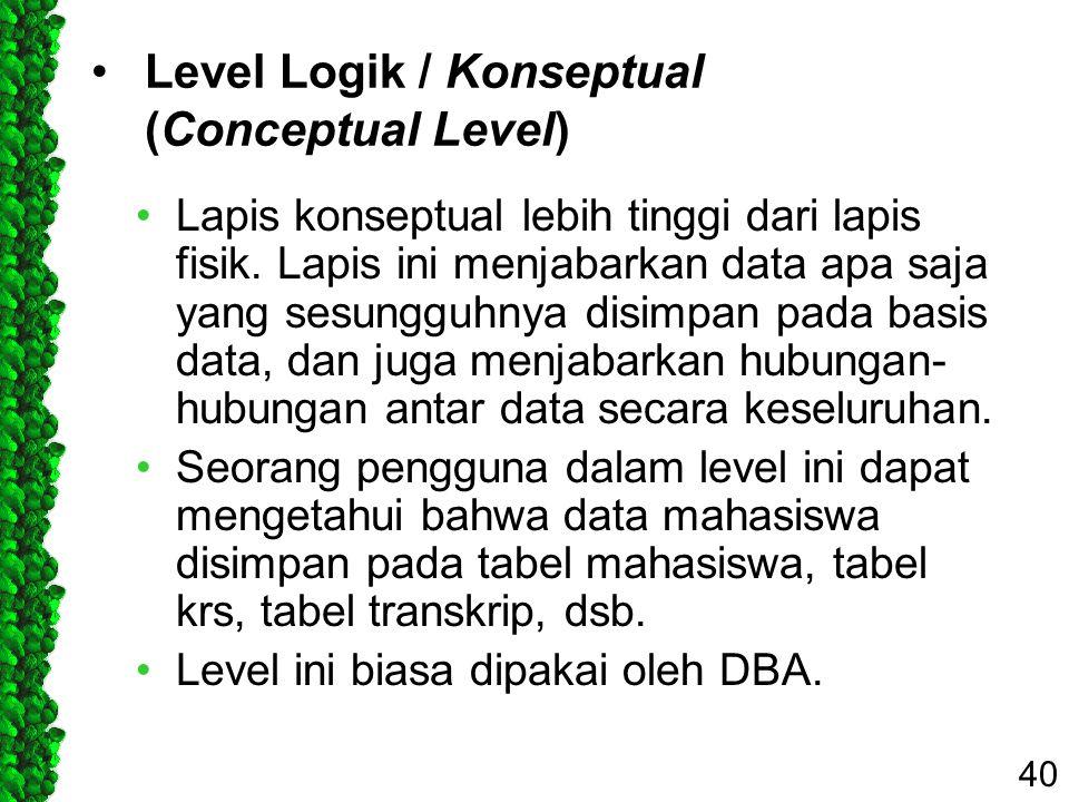 Level Logik / Konseptual (Conceptual Level)