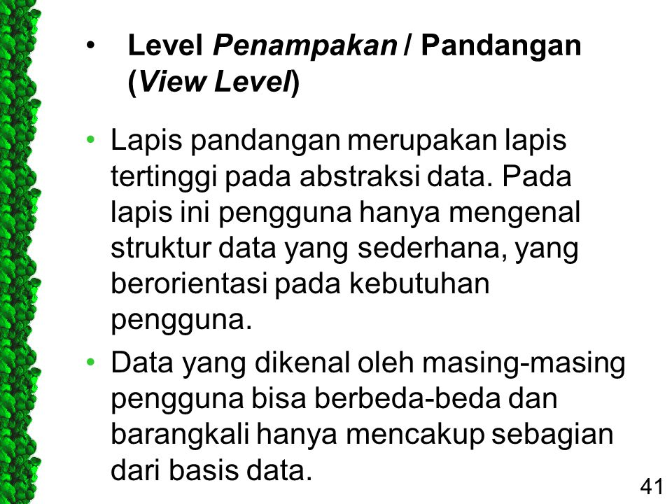 Level Penampakan / Pandangan (View Level)