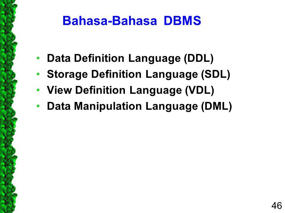 Bahasa-Bahasa DBMS Data Definition Language (DDL)