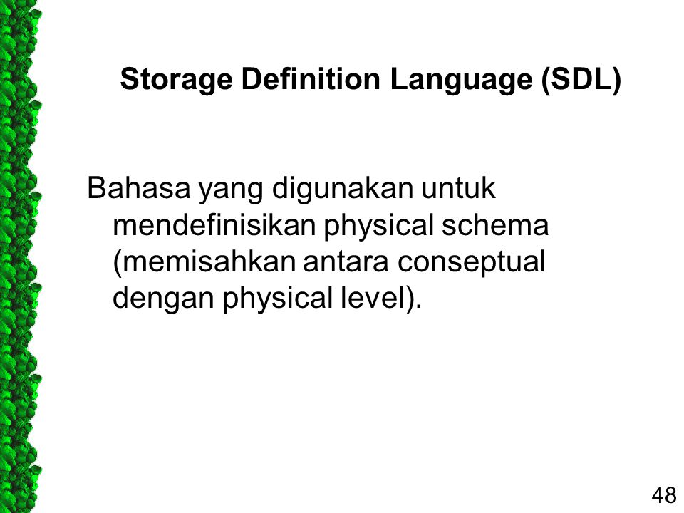 Storage Definition Language (SDL)