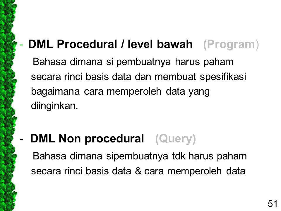 DML Procedural / level bawah (Program)