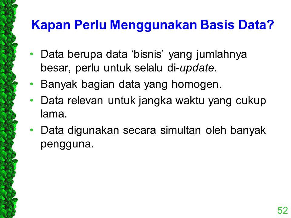 Kapan Perlu Menggunakan Basis Data