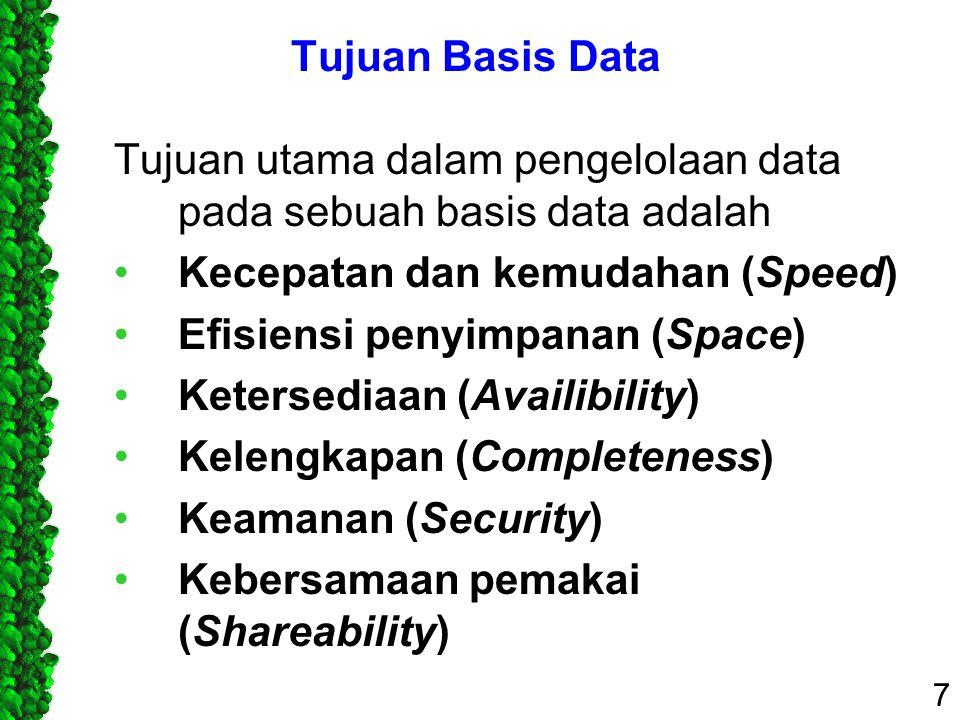 Tujuan Basis Data Tujuan utama dalam pengelolaan data pada sebuah basis data adalah. Kecepatan dan kemudahan (Speed)