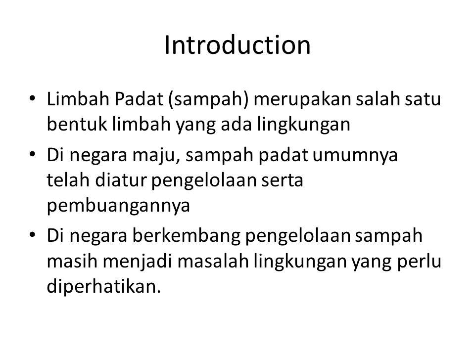 Introduction Limbah Padat (sampah) merupakan salah satu bentuk limbah yang ada lingkungan.