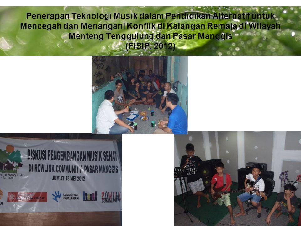 Penerapan Teknologi Musik dalam Pendidikan Alternatif untuk Mencegah dan Menangani Konflik di Kalangan Remaja di Wilayah Menteng Tenggulung dan Pasar Manggis (FISIP, 2012)
