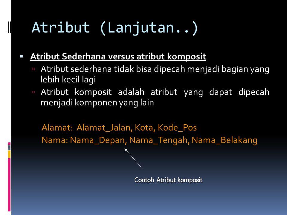Atribut (Lanjutan..) Atribut Sederhana versus atribut komposit