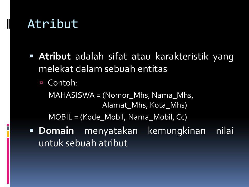 Atribut Atribut adalah sifat atau karakteristik yang melekat dalam sebuah entitas. Contoh: