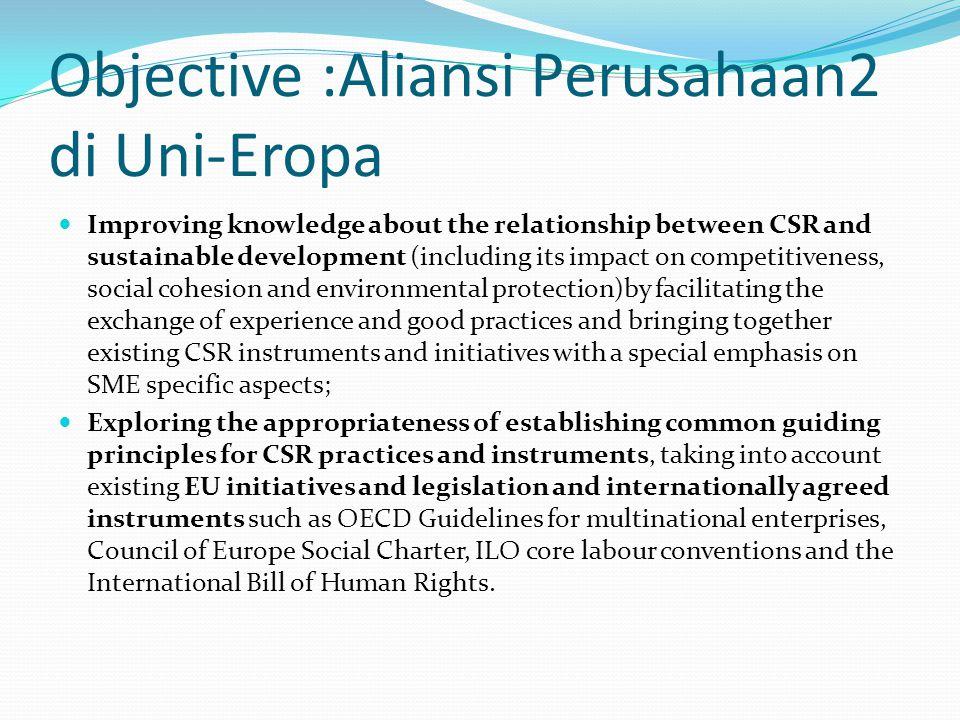 Objective :Aliansi Perusahaan2 di Uni-Eropa