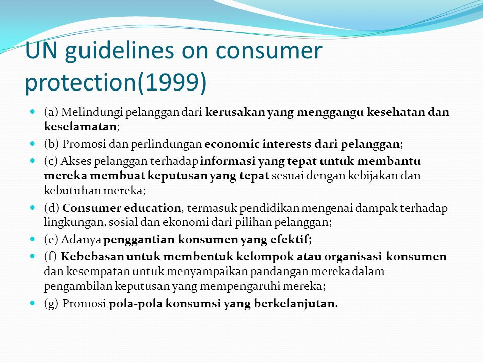 UN guidelines on consumer protection(1999)