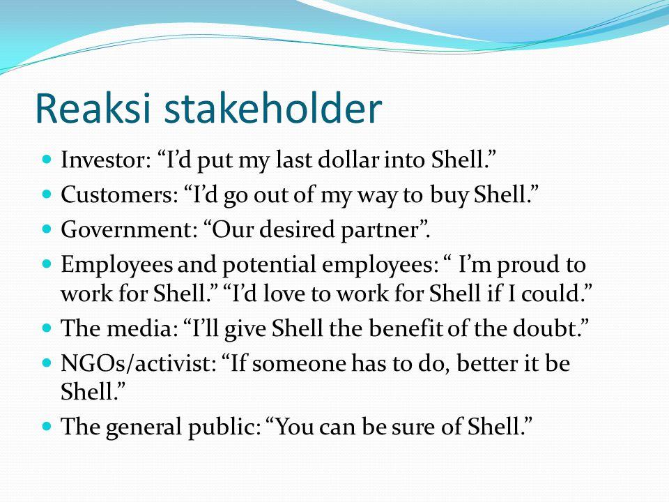 Reaksi stakeholder Investor: I'd put my last dollar into Shell.