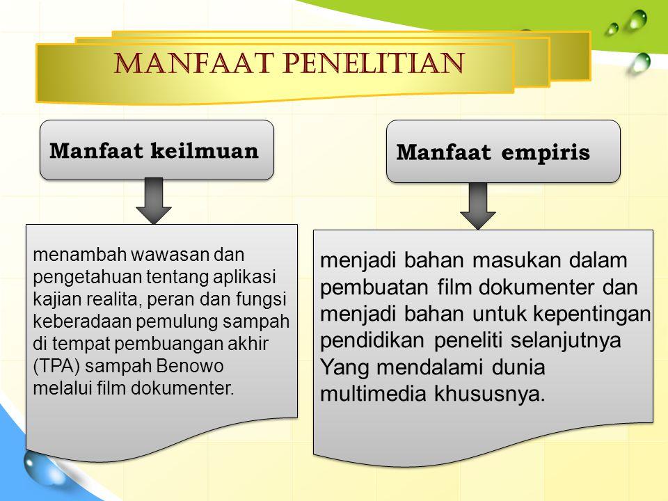 MANFAAT PENELITIAN Manfaat empiris Manfaat keilmuan
