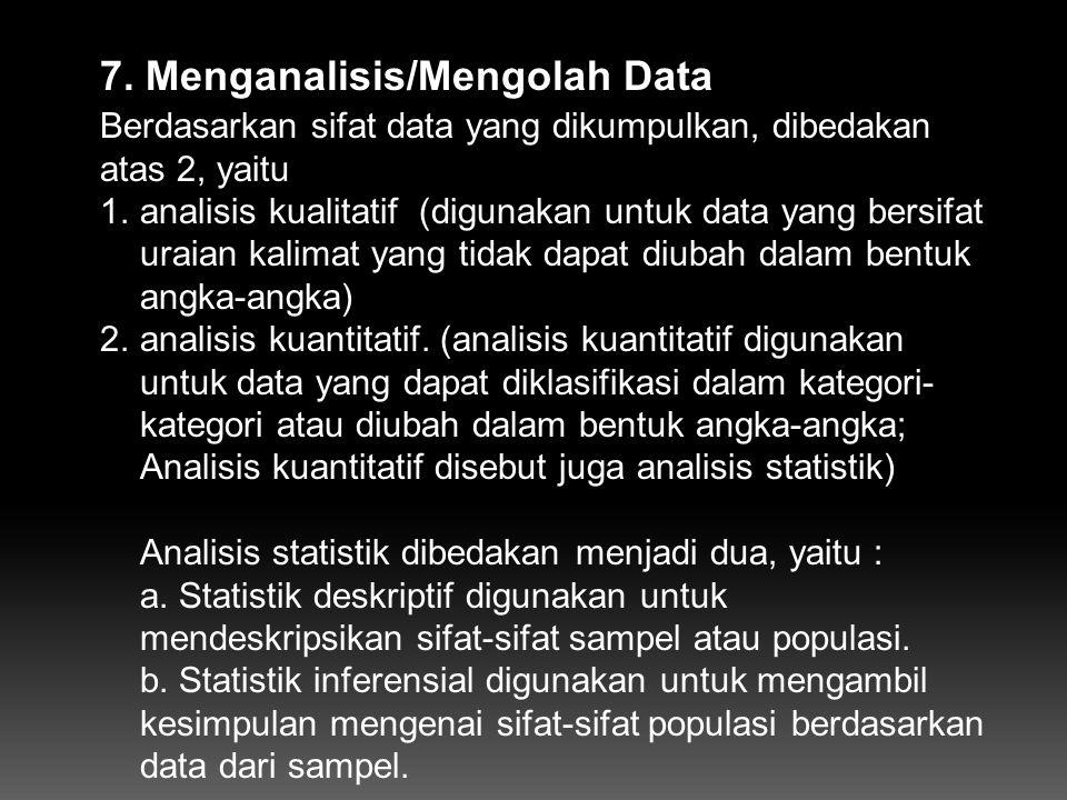 7. Menganalisis/Mengolah Data