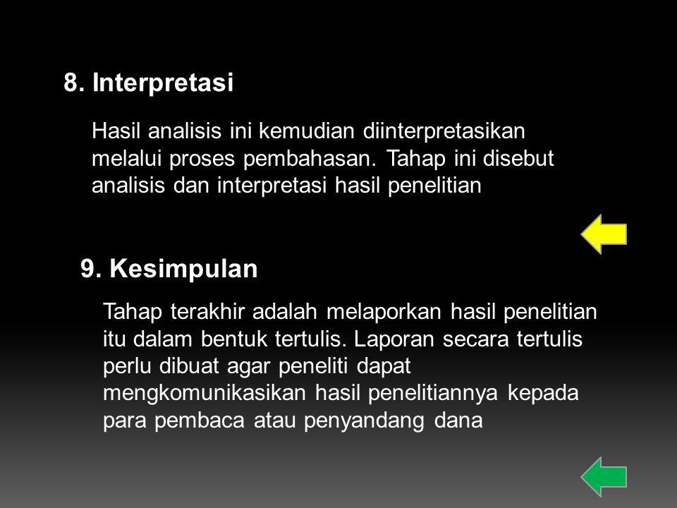 8. Interpretasi 9. Kesimpulan