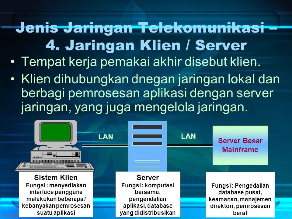 Jenis Jaringan Telekomunikasi – 4. Jaringan Klien / Server