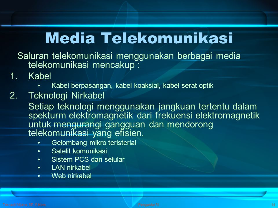 Media Telekomunikasi Saluran telekomunikasi menggunakan berbagai media telekomunikasi mencakup : Kabel.