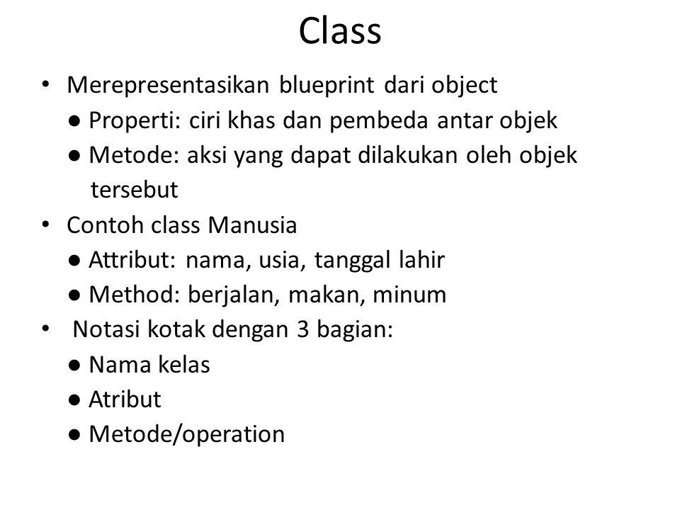 Class Merepresentasikan blueprint dari object