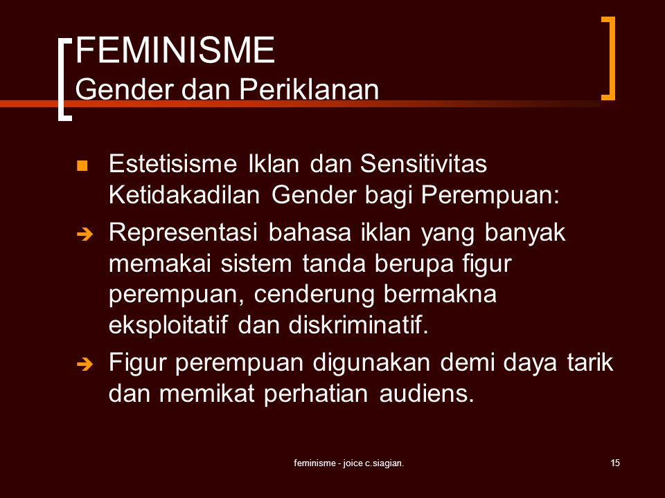 FEMINISME Gender dan Periklanan