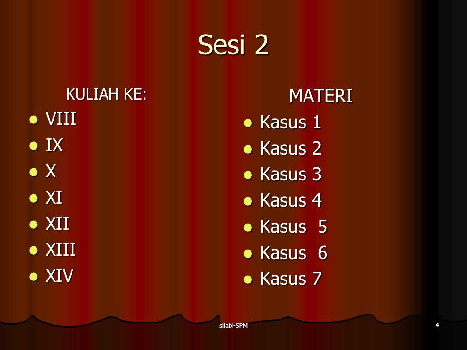 Sesi 2 MATERI VIII Kasus 1 IX Kasus 2 X Kasus 3 XI Kasus 4 XII Kasus 5