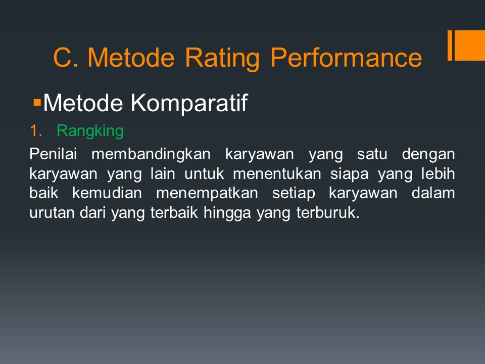 C. Metode Rating Performance