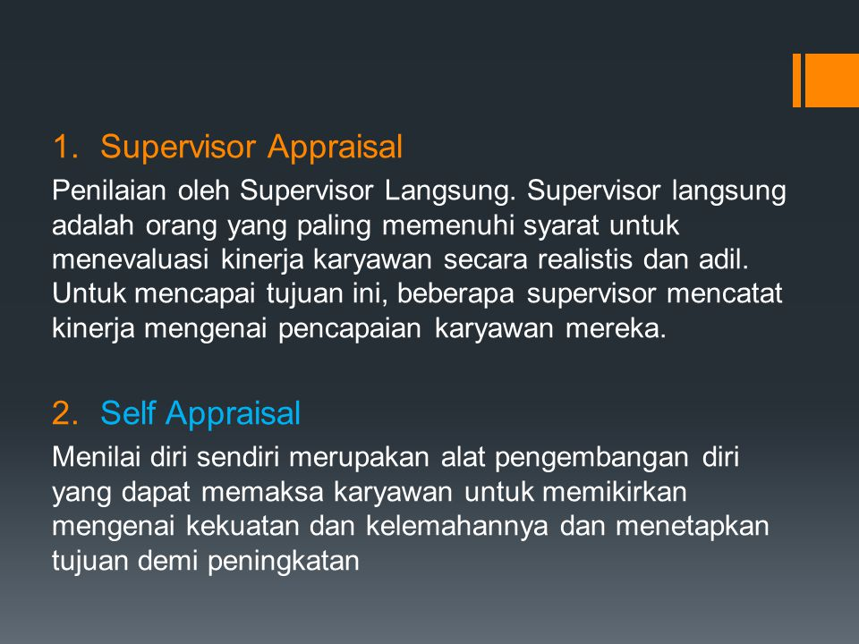 Supervisor Appraisal Self Appraisal