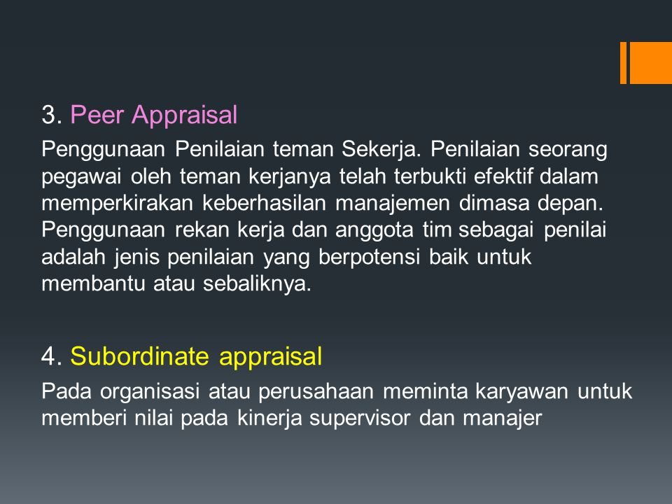 4. Subordinate appraisal