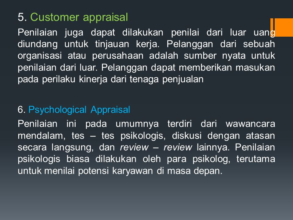 5. Customer appraisal