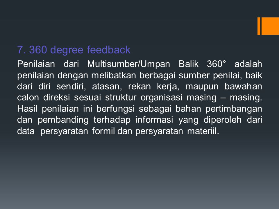 7. 360 degree feedback