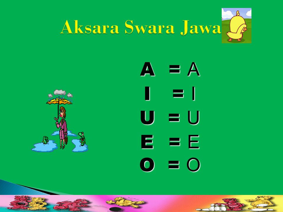Aksara Swara Jawa A = A I = I U = U E = E O = O