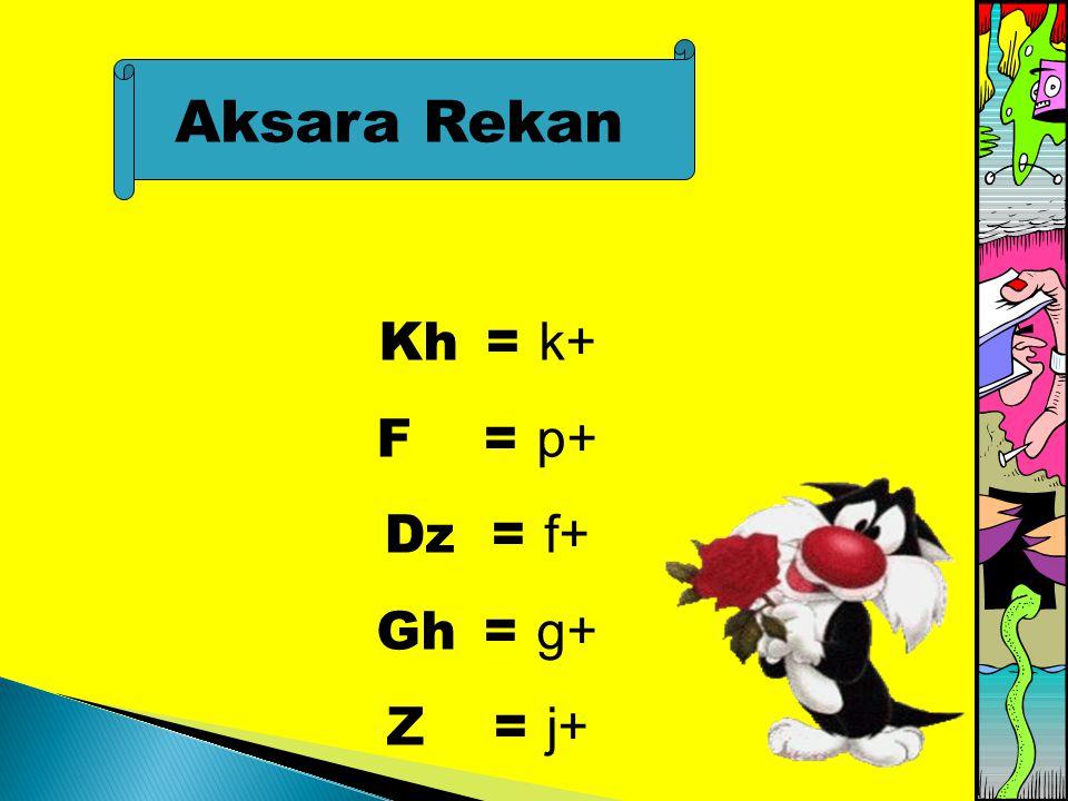 Aksara Rekan Kh = k+ F = p+ Dz = f+ Gh = g+ Z = j+