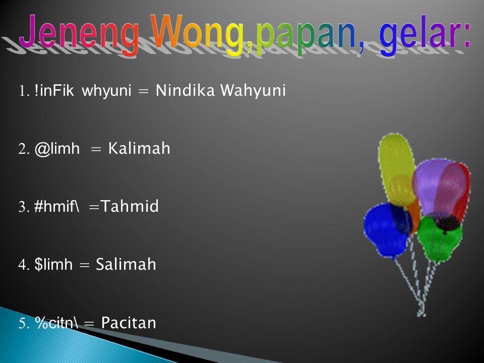Jeneng Wong,papan, gelar: