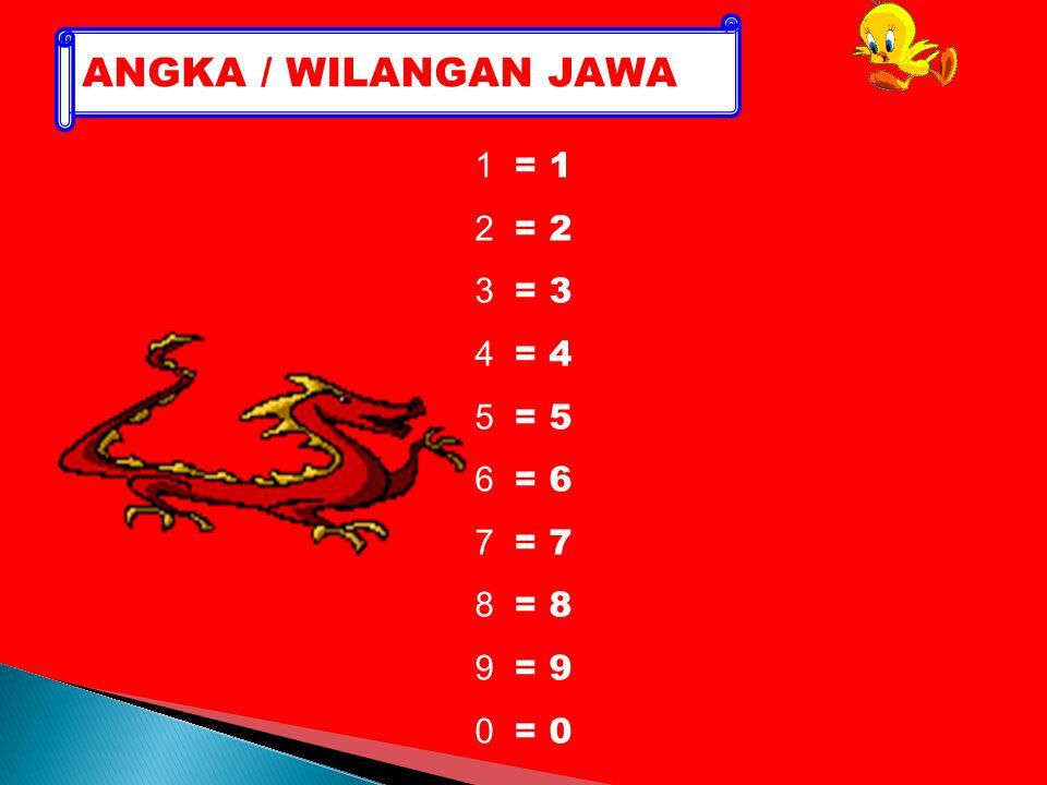 ANGKA / WILANGAN JAWA 1 = 1 2 = 2 3 = 3 4 = 4 5 = 5 6 = 6 7 = 7 8 = 8
