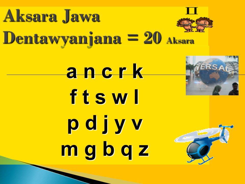 Aksara Jawa Dentawyanjana = 20 Aksara