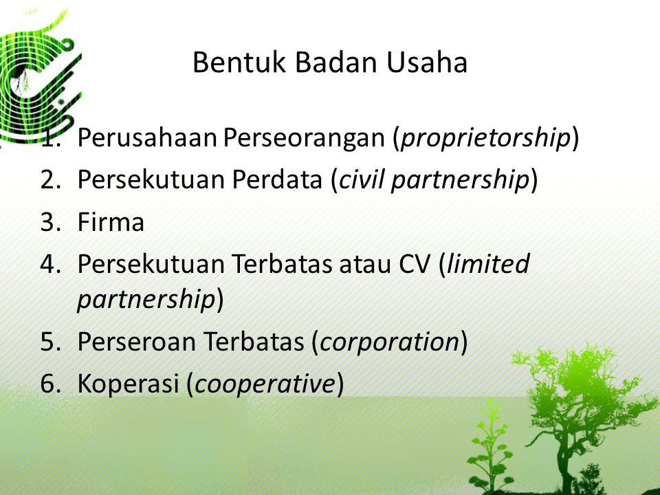 Bentuk Badan Usaha Perusahaan Perseorangan (proprietorship)