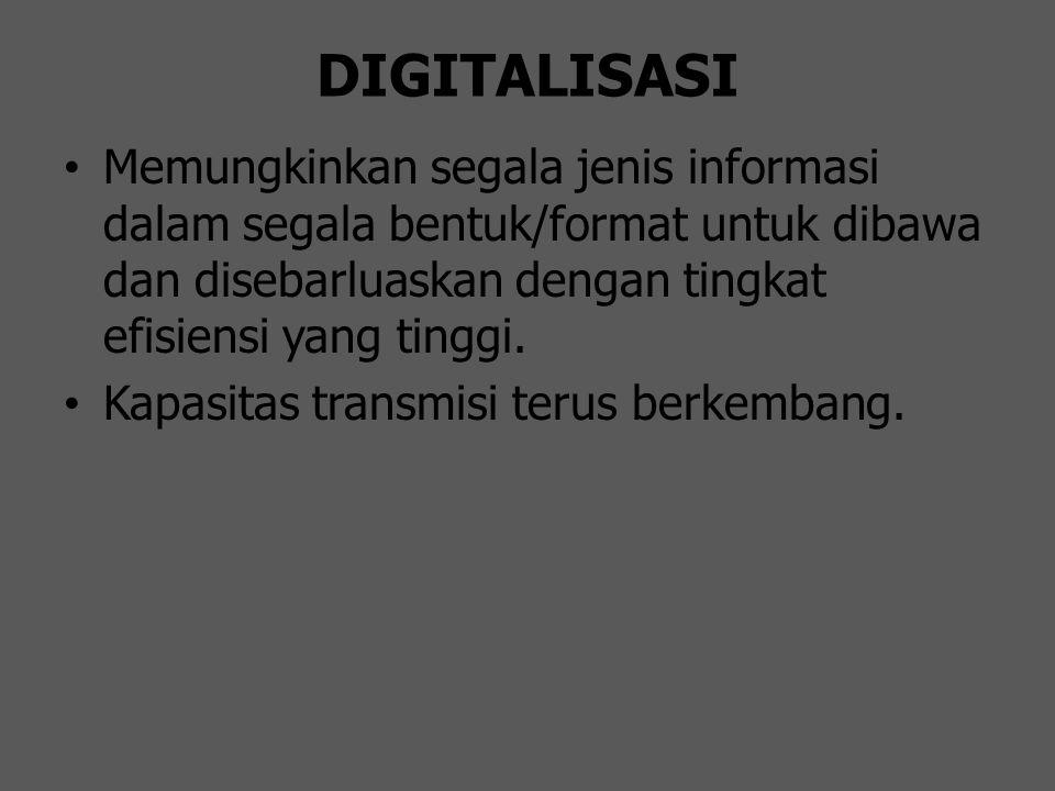 DIGITALISASI Memungkinkan segala jenis informasi dalam segala bentuk/format untuk dibawa dan disebarluaskan dengan tingkat efisiensi yang tinggi.