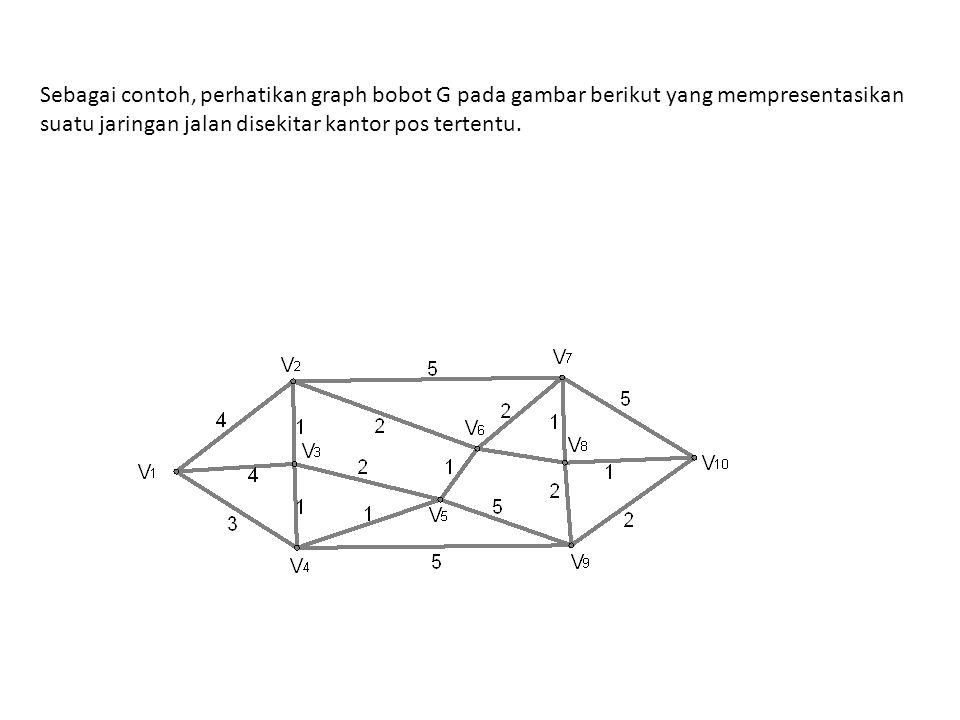 Sebagai contoh, perhatikan graph bobot G pada gambar berikut yang mempresentasikan suatu jaringan jalan disekitar kantor pos tertentu.