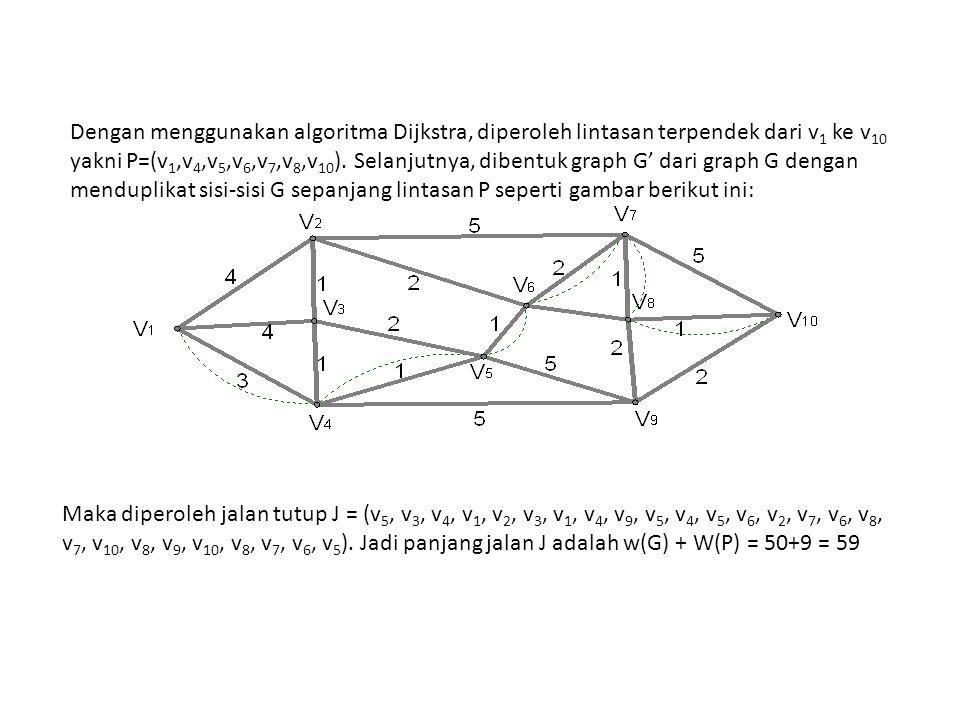 Dengan menggunakan algoritma Dijkstra, diperoleh lintasan terpendek dari v1 ke v10 yakni P=(v1,v4,v5,v6,v7,v8,v10). Selanjutnya, dibentuk graph G' dari graph G dengan menduplikat sisi-sisi G sepanjang lintasan P seperti gambar berikut ini: