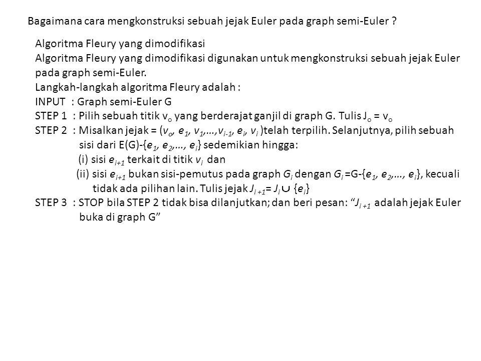 Bagaimana cara mengkonstruksi sebuah jejak Euler pada graph semi-Euler