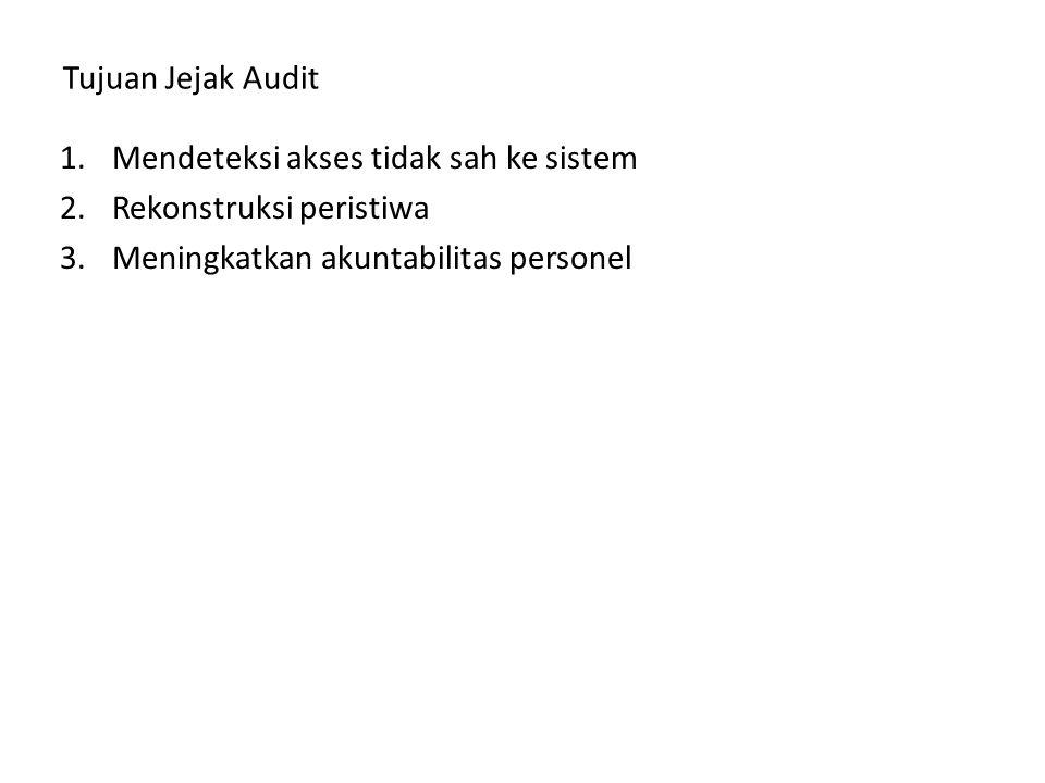 Tujuan Jejak Audit Mendeteksi akses tidak sah ke sistem.