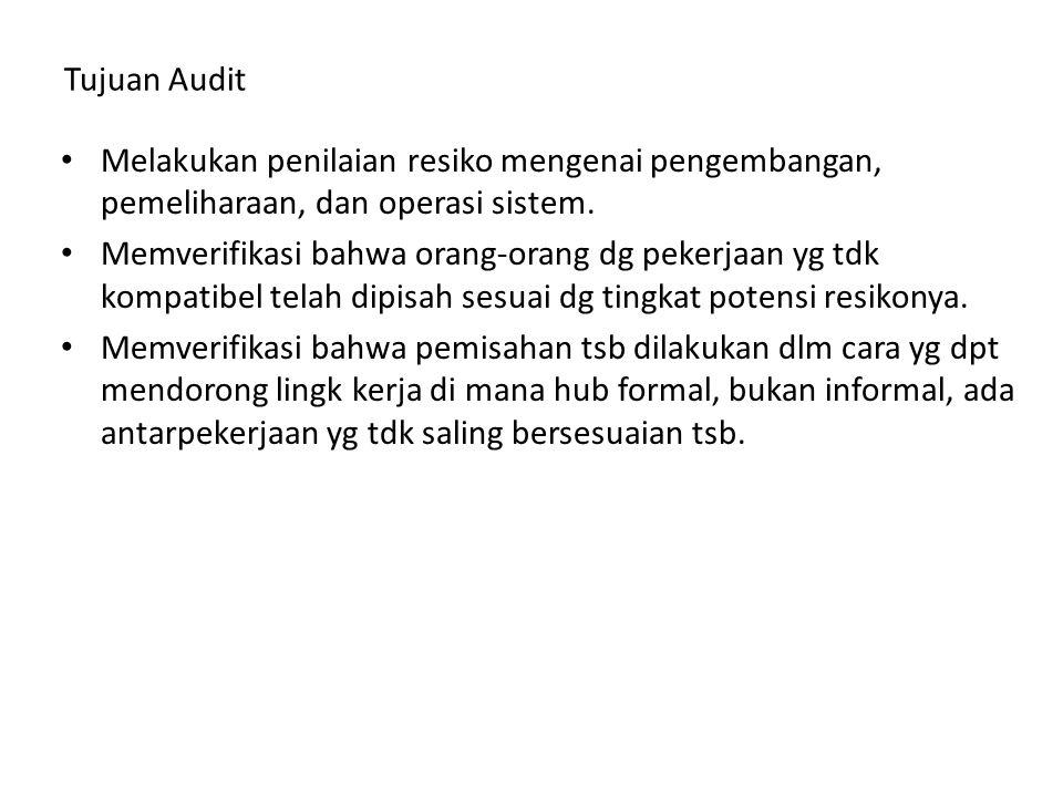 Tujuan Audit Melakukan penilaian resiko mengenai pengembangan, pemeliharaan, dan operasi sistem.